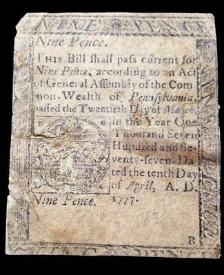 Pennsylvania Colonial Currency Note,  April 10, 1777  Nine Pence