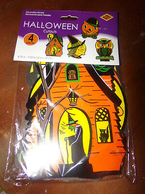 NEW in Package Beistle Reproduction 4 Halloween Cutouts Made in USA