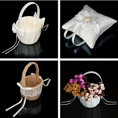 Holy Wedding Flower Girl Basket /Ring Pillow Bowknot Satin Diamond Party  !