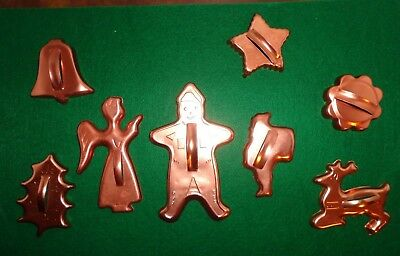 COPPER CHRISTMAS COOKIE CUTTERS Angel Gingerbread Man Santa Bell Reindeer Holly