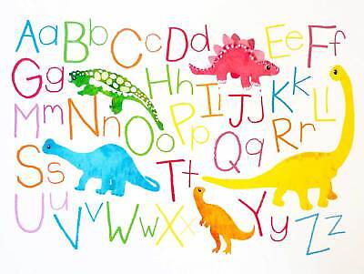 Paintings Drawing Children Kids Dinosaur Alphabet Art Print Poster Bb8843