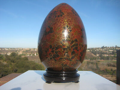 """Vintage Beautiful Chinese Large Brass  Cloisonne Egg Flowers Design 9"""""""