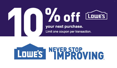 FIVE LOWES COUPONS  (5) 10% off purchase  Exp.  JANUARY- 31-2019   Fast Ship