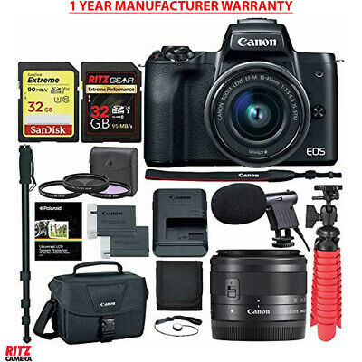 Canon EOS M50 15-45mm is STM Mirrorless Digital Camera + Accessory Bundle