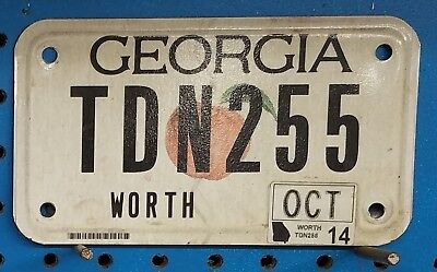 "Georgia 2014 ""Peach"" Motorcycle License Plate/Tag - TDN255 ~ Flat"