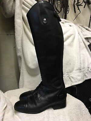 Ariat Black Leather Long Riding Boot, With Front Laces, Size 6