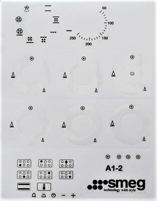 Smeg A1-2 range oven panel fascia stickers, may suit other models.