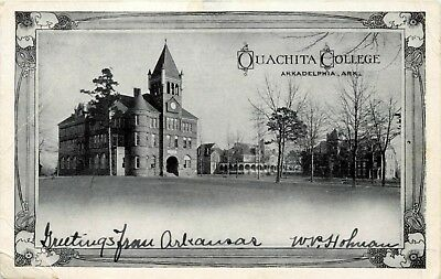 1907 Arkansas Photo Postcard: View Of Ouachita College Arkadelphia, Ar