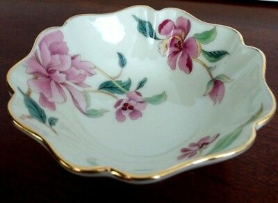 Lenox Small Floral Bowl Trinket Jewelry nuts candy Gold Trim 4 Inch