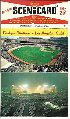 6 attached Los Angeles Dodger Stadium Chrome Postcards, never mailed, see photos