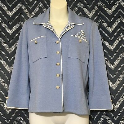 St John Collection Marie Gray Santana Knit Size 4 Jacket Gold Pearl Button Blue