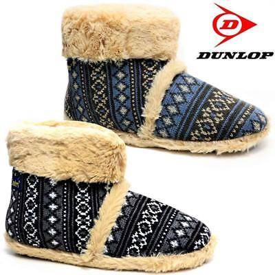 Mens Slippers New Dunlop Ankle Fleece Warm Lined Nordic Winter Boots Shoes Siz