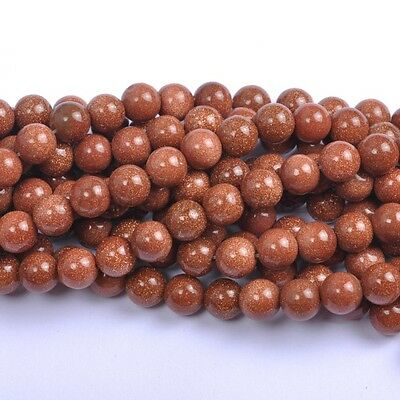 40Pcs Natural Gold Sand Gemstone Round Spacer Loose Beads 4MM #5