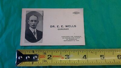 1906 Candidate For Coroner On Republican Ticket Card, Rare!!