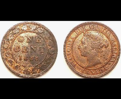 1888 Canada Large Cent, 0.99 Cents Auction & Free Shipping