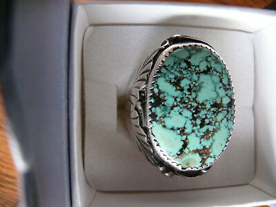 Big Old Vtg Mens Turquoise Sterling Silver Navajo Ring PM Twin Leaf Fern Sz 10