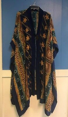 Womens Sheer Cover, Long, Vintage, RARE African Carved Mask Button, Free Size