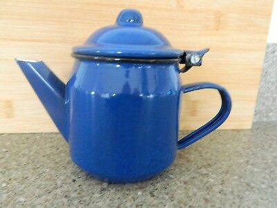 Vintage French Enamel Straight Sided Teapot - Deep Rich Blue - Vgc