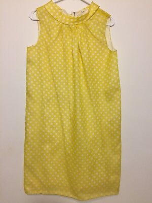 Vintage 1960s Yellow White Polka Dot Sleeveless Babydoll Dress M Mod Go Go 60s