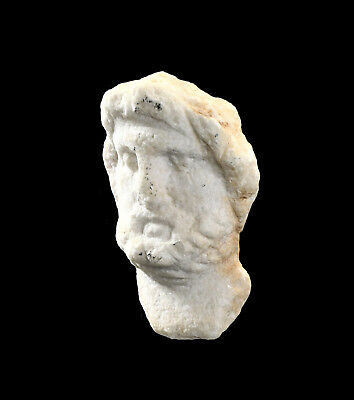 Aphrodite- Ancient Roman Marble Relief Head Of A Male