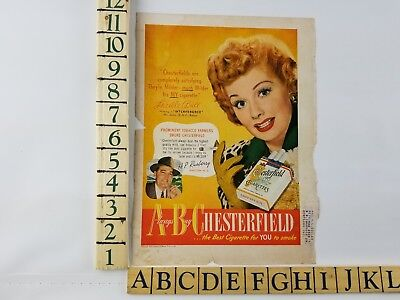 1949 Always Buy Chesterfield Cigarette Vintage Lucille Ball Original Print Ad