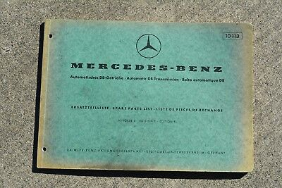 Mercedes Benz 230SL (+ others) Transmission Spare Parts List