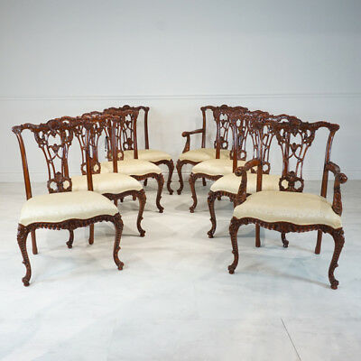 Set of 8 French Chippendale mahogany traditional dining chairs