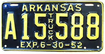 1952 ARKANSAS TRUCK License Plate, # A14 558, unassigned plate, excellent shape