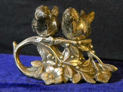Antique/Vintage Pair Silver Plate Songbirds Salt and Pepper Shakers  W.B. & Co