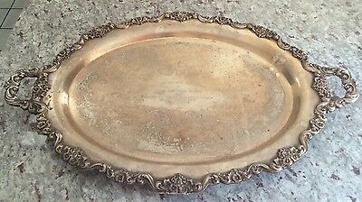 "Rare Large 30"" Footed/Handled POOLE LANCASTER ROSE SILVERPLATE TRAY - John ADAMS"