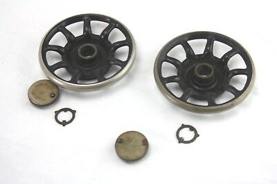 TWO vintage SINGER sewing machine BALANCE WHEELS(spoked,cast,heavy,machinery,fly