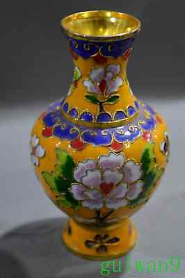 Collectable Chinese Handwork Cloisonne Paint Flower Ancient Room Decor Rare Vase