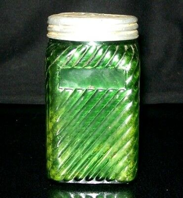 """ANTIQUE VICTORIAN 1800's GREEN SLAG GLASS SQUARE SPICE JAR WITH SCREW-ON LID 4""""H"""
