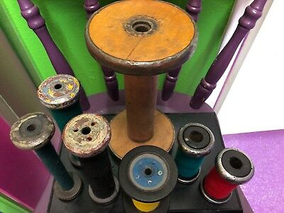 Vintage Wooden Industrial Bobbin Spool Thread Yarn Textile Lot 7 Different Ones
