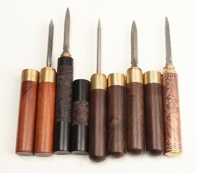 5 Letter Opener Wood Chazhen Tool Old Flower Steel Pattern Complete Set Decora