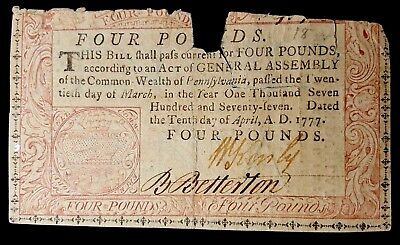 April 10, 1777, Four Pounds, Pennsylvania Colonial Currency Note