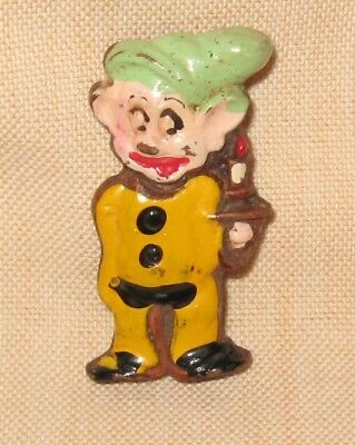 Vintage 1938 Disney Ent. Dopey Pin, Molded Composition, Hand Painted
