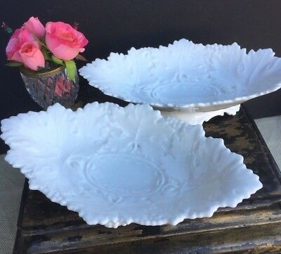 Pair Of Antique French White Porcelain White Ironstone Dish Bowl