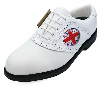 Mens White Leather Lace-Up Spikeless Casual Classic Golf Comfort Shoes Uk 6-11