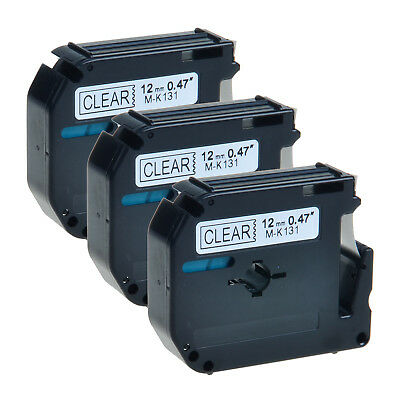 """3 PK MK131 Black on Clear M-K131 Label Tape for Brother P-Touch PT-100 12mm 1/2"""""""
