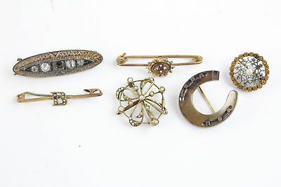 6 x ANTIQUE BROOCHES inc. Gold Plated, Art Nouveau, Seed Pearl, Paste