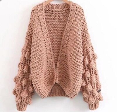 Cardigan - hand knitted TAN & BEIGE / S-M