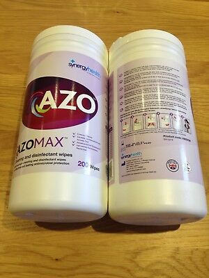 2 x 200 AZO MAX  Cleaning and Disinfectant Wipes.