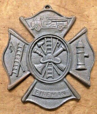 Fireman Plaque Maltese Firefighter Cross, cast iron sign 8 x 9 inches