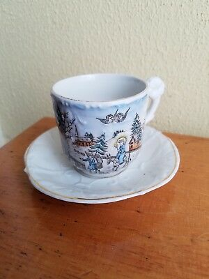 Antique Victorian Children's Christmas Cup & Saucer Santa Blue Coat & Tree Angel