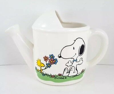 SNOOPY Woodstock Ceramic Watering Can PEANUTS Determined Production Vintage