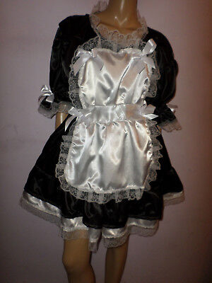 "Adult Baby Sissy French Maid Satin Dress 42"" Pretty  Frill Hem  Apron + Mop Cap"