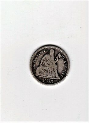 Very Scarce1875Cc Seated Liberty Dime Nice Detail Partial Liberty