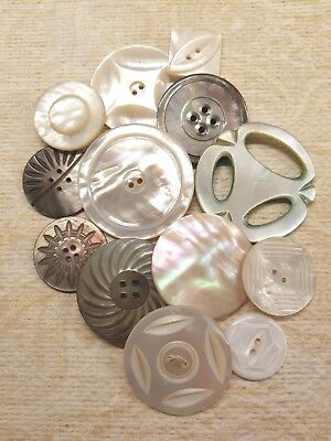 12 Vintage  Mop & Smokey  Shell Buttons & 1 Slide Buckl Extra Large, Medium