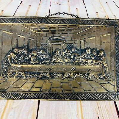 Vintage Antique Punched Tin Metal 3-D The Lord's Last Supper Wall Hanging
